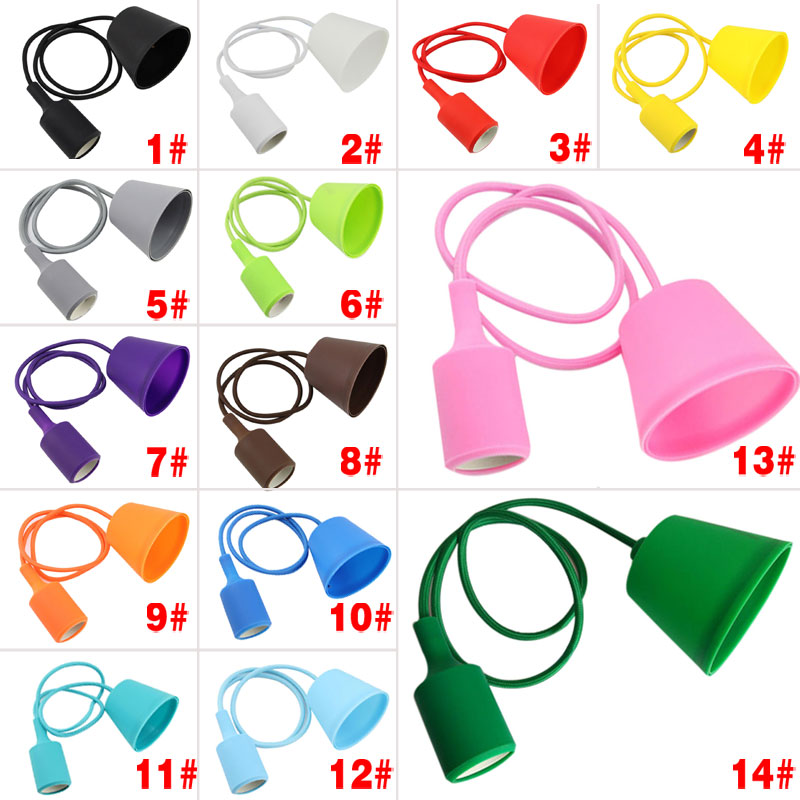 Colorful E27 Socket DIY Edison LED Lamp Holder Base Vintage Silicone Light Socket Bulb Holder Hanging Lamp Line Lighting Fixture ...