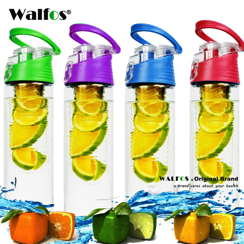 WALFOS 800 ml 28 oz BPA Free Fruit Infuser Juice Shaker Sports Lemon Water Bottle Tour hiking Portable Climbing Camp Bottles