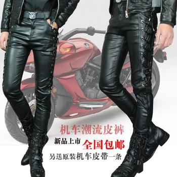 Autumn winer personality fashion Straps motorcycle leather pants mens feet pants trousers for men pantalon homme black red white
