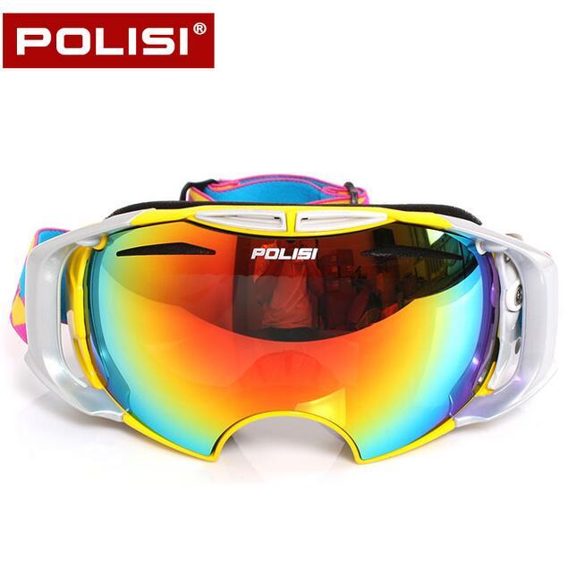 b2de8834b2aa3 POLISI Snowboard Esportes de Inverno Ski Snowboard Snowmobile Goggle Anti-Nevoeiro  Óculos Óculos de Neve Óculos com 2 Lentes Substituíveis