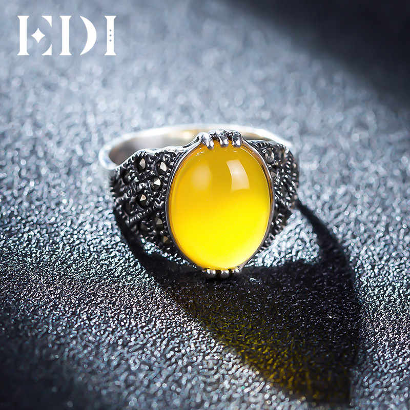 EDI Retro Vintage 925 เงินสเตอร์ลิงโกเมน Chalcedony หยกปรับขนาดได้แหวนหญิงโรแมนติกเครื่องประดับสำหรับผู้หญิง