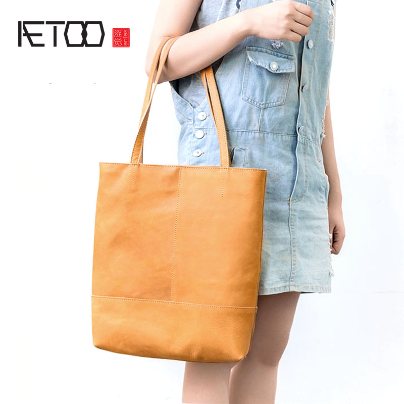 AETOO Handbag shoulder bag retro leather shopping bag simple bulk bucket bag wild new stylish and simple bucket bag wild shoulder messenger bag