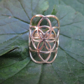 Brass adjustable flower of life ring, seed of life ring mandala/kabbalah ring, rhodium/gold/rose gold plating,free size 7-9