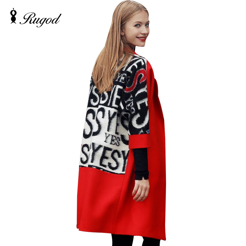 RUGOD 2018 Spring Autumn Fashion Women Flocking Trench Coat Femme Long Patchwork Letter Wool Coats Warm Woolen Outwear Overcoat