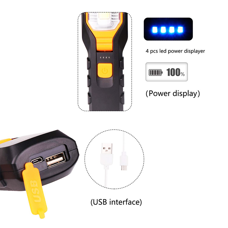 Image 3 - Dropshipping Portable Handheld USB Flashlight LED Rechargeable Work Light COB Rotatable Torch Magnet Hook 4 Mode for Car-in LED Flashlights from Lights & Lighting