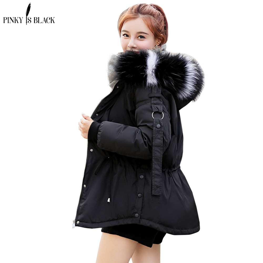 7735d469804e7 PinkyIsblack 2018 Winter Jacket Women Parkas Thicken Outerwear Large Fur  hooded Coats Short Female Slim Cotton padded basic tops