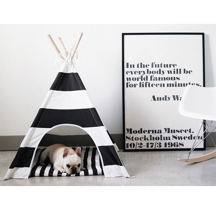 Portable Pet House Cotton Canvas <font><b>Tent</b></font> Dogs Cats Bed Room Cage Folding Tipi Teepee for Animals