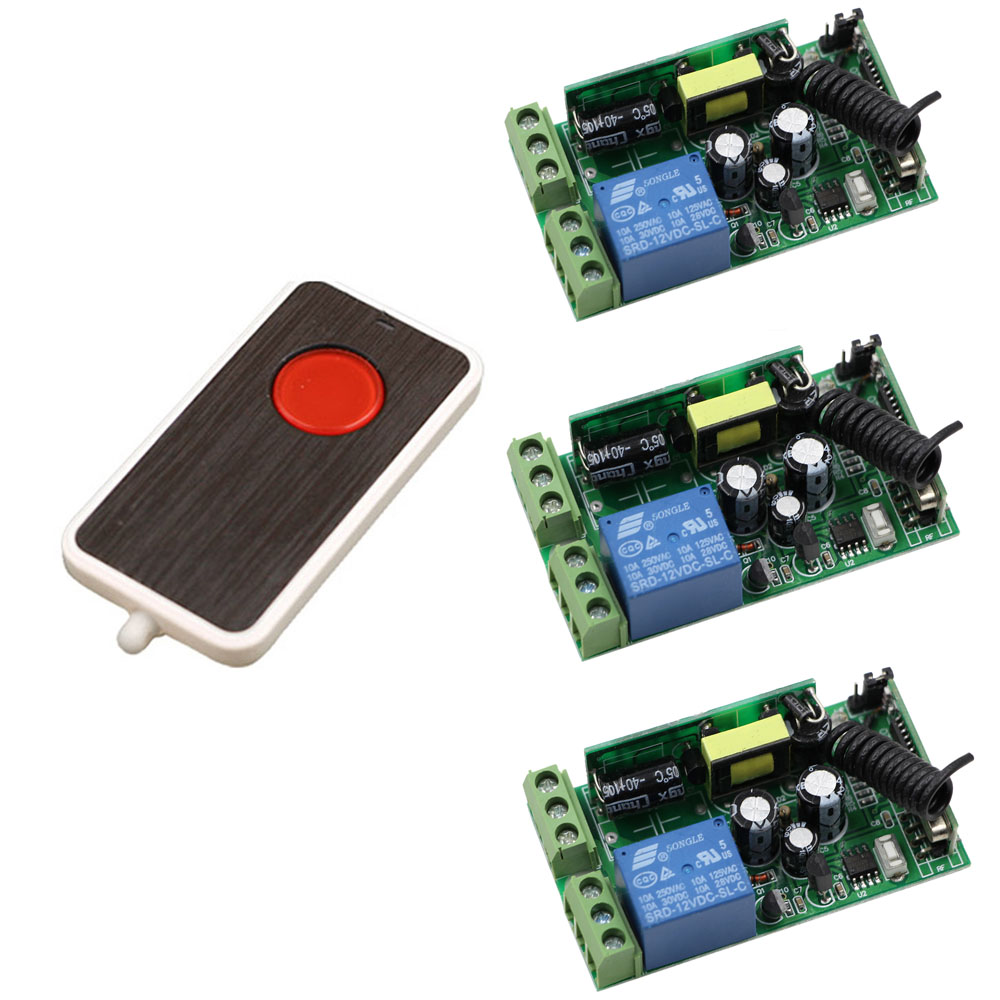 85V 220V 110V 250V 1CH Radio Controller RF Wireless Remote Control Switch Transmitter+3*Receivers Universal Gate Remote Control jd211a1n5 top rating 5 channel switch rf wireless remote control light switch five digital receivers 110v and 220v