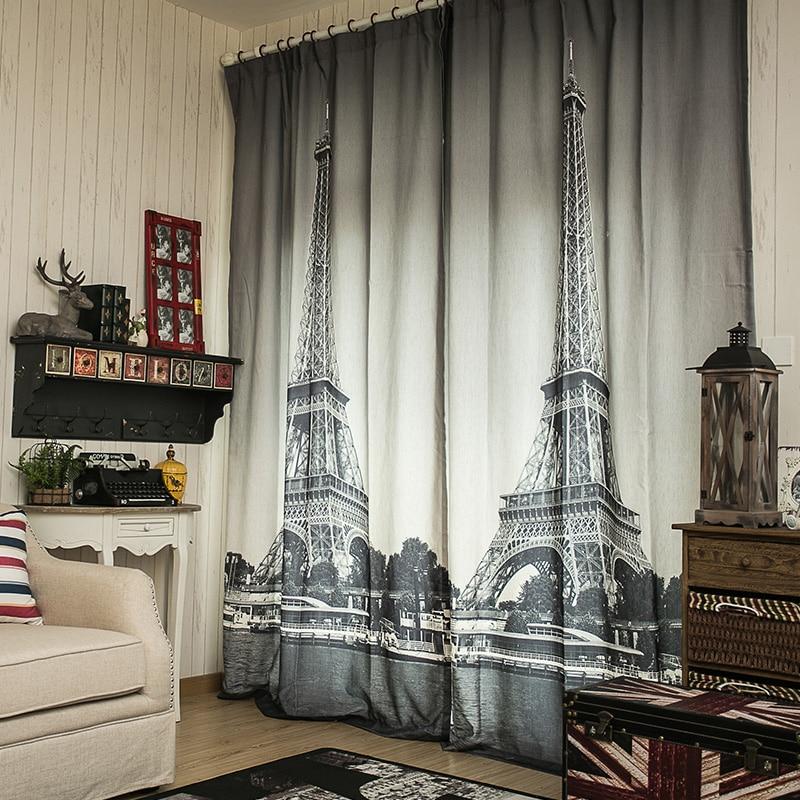 3d Linen cheap curtain fabrics Paris Eiffel Tower Blinds blackout curtains for living room