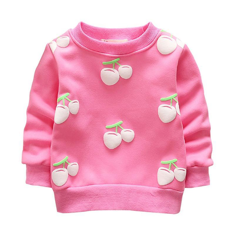 все цены на Toddler Baby Girls Boys Sweater Coat Autumn Winter New Cherry Children Plus Velvet Long Sleeve Soft Warm Sweatshirt Clothes