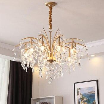 עכשווי מינימליסטי גביש LED נברשת אורות רעייה ברזל תליית אורות סלון חדר שינה LED נברשת מנורות