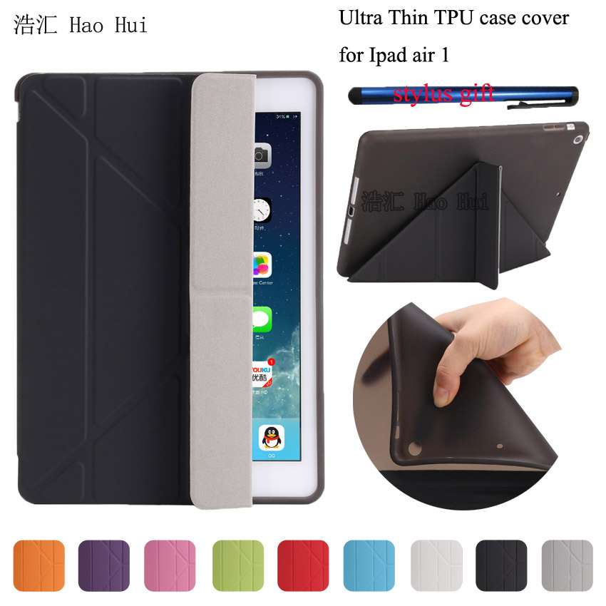 For Apple Ipad Air 1 Case Pu+Tpu Cover Smart Wake Up Sleep 9.7 inch For Ipad 5 Soft Full Protect High Quality+ Free Stylus Pen for apple ipad air 2 case pu tpu cover ultra thin smart wake up sleep 9 7 inch for ipad 6 soft full protect stand case stylus