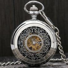 High Quality Alloy Fashion Half Hunter Design Theme Pocket Watch Hand-wind Mechanical Clock Classic Hollow Men Women Clock Gift