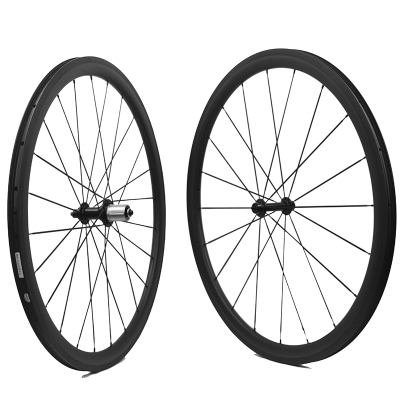 купить 700C Chinese Carbon Wheels Road Bike  38mm Front 50mm Rear Clincher/Tubeless Carbon Road Bike Carbon Wheelset  Super Light Rims недорого