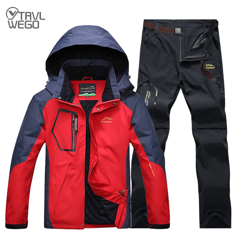 TRVLWEGO Men Summer Spring Fishing Hiking Jackets Camping Trekking Pants Outdoor Travel Quick Dry Trousers Suit Plus Size