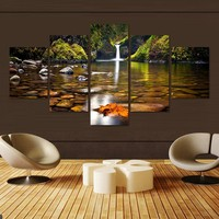 5 Pcs Landscape Canvas Art Modular Pictures Oil Painting On Canvas Fashion Home Decoration Paintings Wall