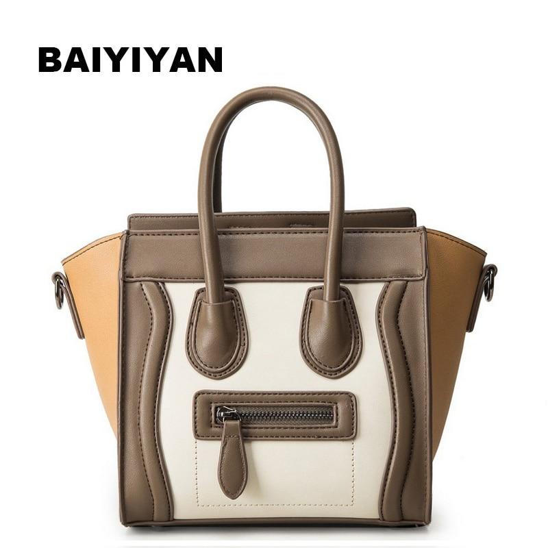 New Leisure Wild panelled women PU leather handbags Smiley Face Bag Bat Wings Handbag Tote Bag Crossbody bag