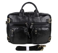 Мода Многофункциональный натуральная кожа Черный Топ ручкой для Для мужчин ноутбук рюкзак сумка 7026A