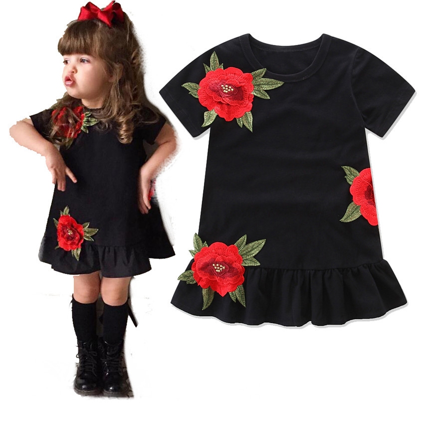 Baby Girls clothing Kids Princess Dresses Floral Rose Party Dress Children Clothing Summer Black Dress Toddler bebe clothes 1-6y little baby girls dresses summer 2015 customes kids clothes children dress toddler clothing lace red deguisement vetement enfant