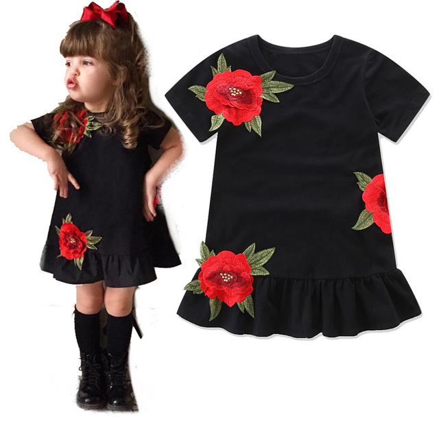 796f9d23b82 Baby Girls clothing Kids Princess Dresses Floral Rose Party Dress Children  Clothing Summer Black Dress Toddler bebe clothes 1-6y