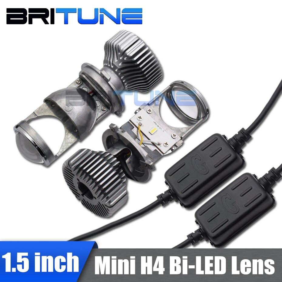 Britune H4 Bi-led Lens LED Projector Headlight Lenses Mini Automobile Kit For Car Lights Accessories Retrofit 1.5'' 5000K 60W