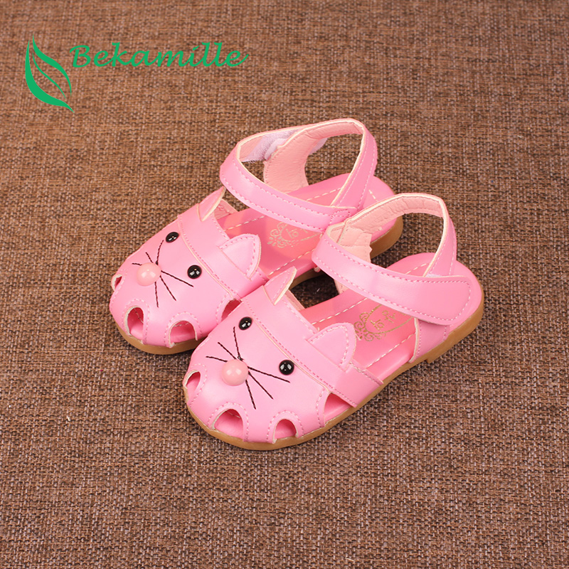 Bekamille Children Shoes Cartoon Cat Kids Girls Baby Sandals Summer Toddler Girls baby Leather Shoes Sneakers Insole 13-18.5cm