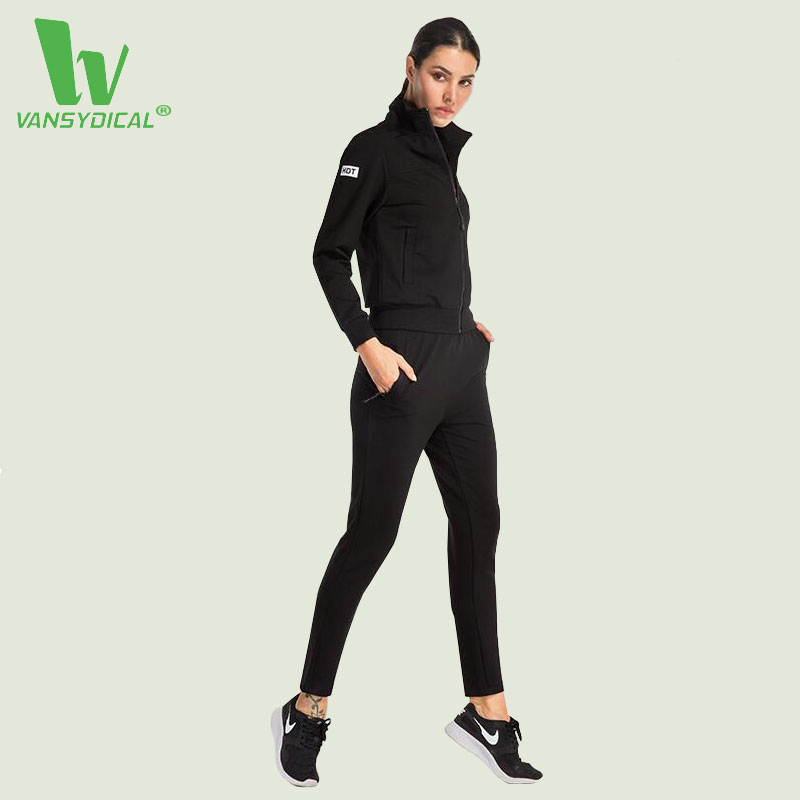 VANSYDICAL Sport Suit Women Sportswear Gym Running Set Fitness Clothing Dry Quick Track Suit 2pcs/set For Jogging Jacket + Pants fitness workout clothing and women s gym sports running girls slim leggings tops women yoga sets bra pants sport suit for female