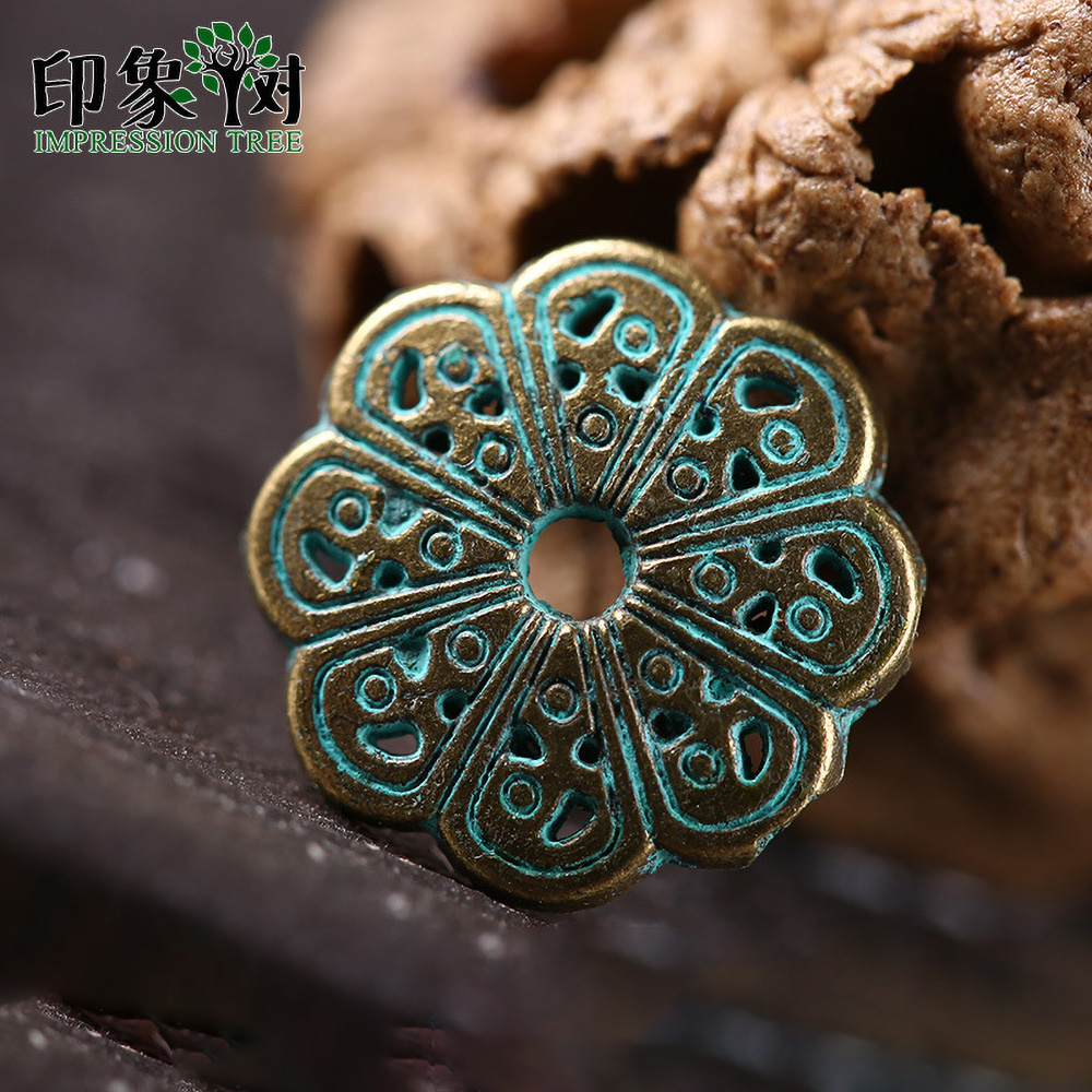 20pcs 13mm Alloy Verdigris Patina Plated Torus Spacer Charms Gasket Accessories  For DIY Jewelry Finding 27045