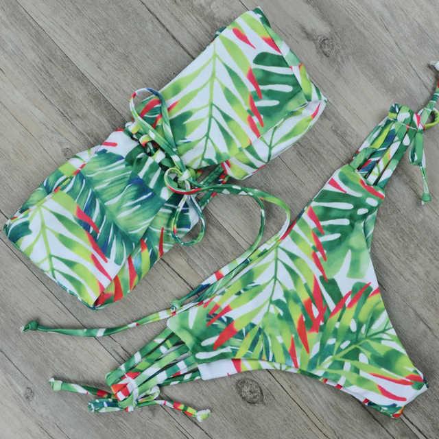 Sexy Bandage Bikini 2018 Women Leaf Print Swimwear Push Up Swimsuit Bandeau Biquini Brazilian Bikinis Stripe Bathing Suit Beach 1