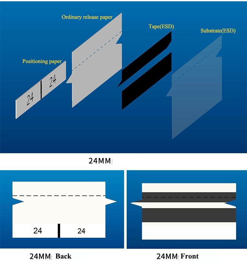 8mm 12mm 16mm 24mm 32mm 44mm 56mm SMT Black Splice Tape Anti-static Sharp-angle Splice Belt  for Panasonic