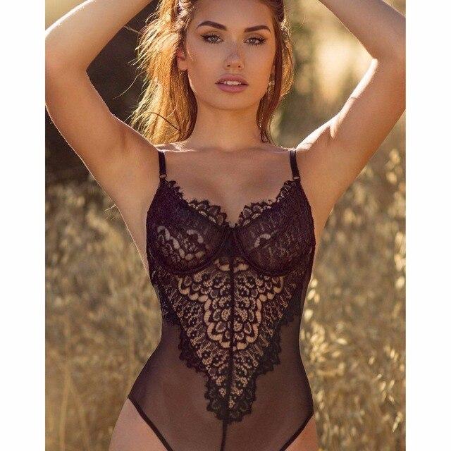 Bodysuits Sexy de encaje negro blanco profundo cuello en V Sexy body monos  Bodycon monos 2017 f7a1418410cb