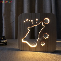 3D LED Lamp Animal Novelty Wolf Lights Wooden Warm Lamp as Friends Birthday Creative Gift