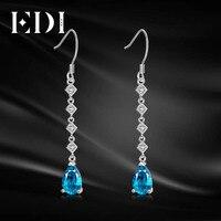 EDI 5 8mm Natural Blue Topaz Female Long Water Drop Earrings 925 Sterling Silver Jewelry Pear