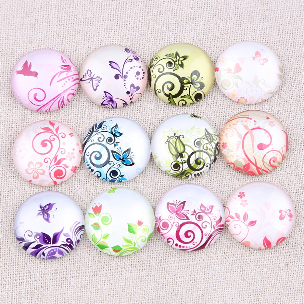 20pcs Japanese Design Handmade Glass Cabochons12mm Round