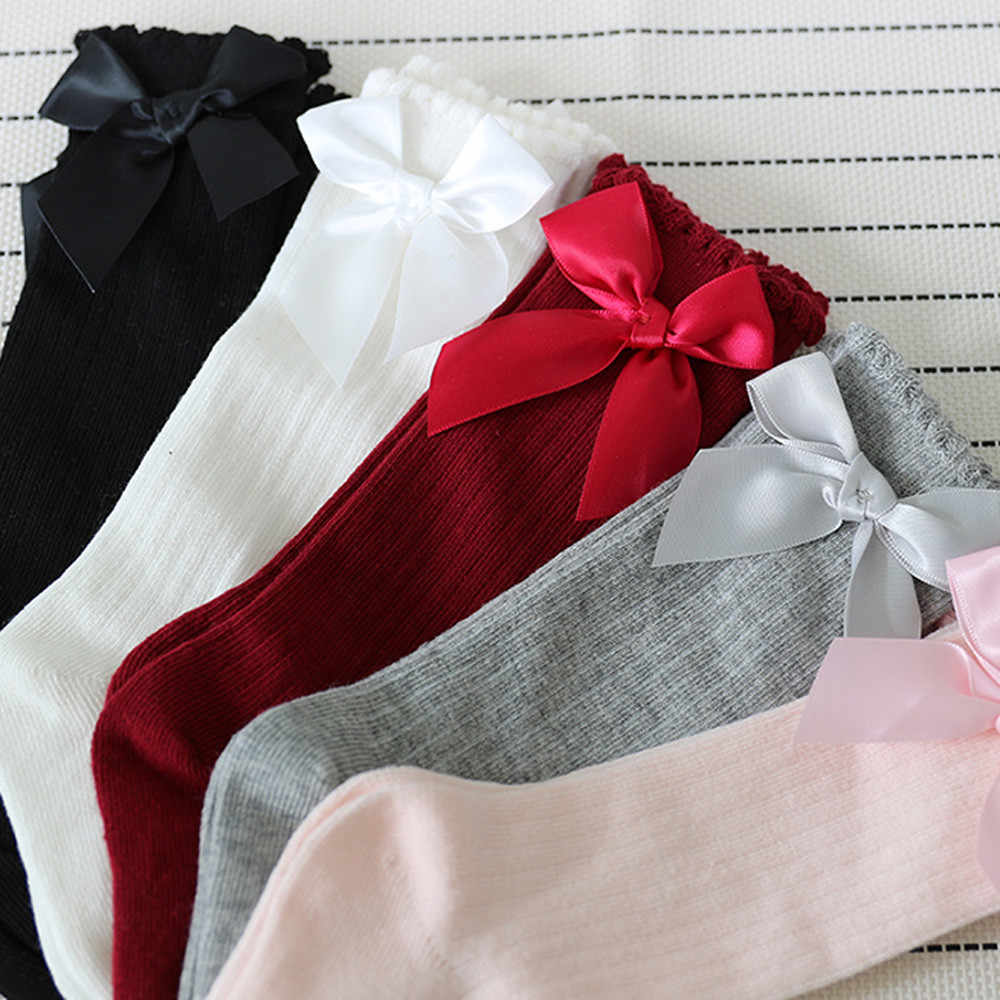 Socks New Kids Toddlers Girls Big Bow Knee High Long Soft Cotton Lace Baby Socks Kids Niekousen meisje Dropshipping Baby Socks