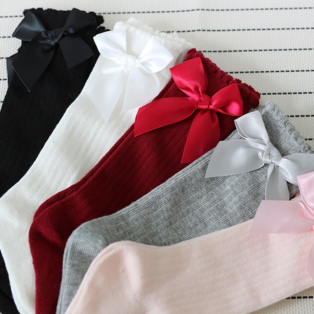 Baby Socks Lace Toddlers Girls Long Knee-High Kids Niekousen Cotton New Bow Big Soft title=