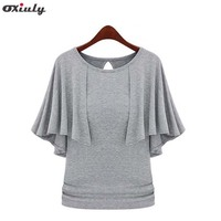 Oxiuly 2016 New Summer Solid Fashion Cloak O-Neck Women Cotton Blend Slimming Stretchy Tops Loose Casual T-Shirt Plus Size M-5XL