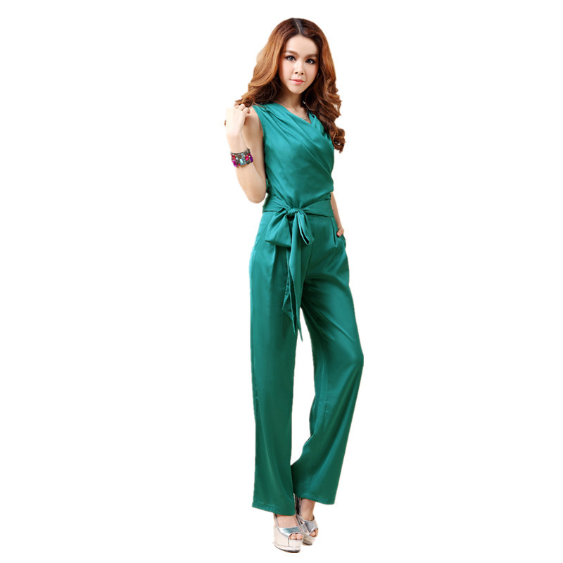 Free Shipping 2018 New Summer OL Formal Fashion V-neck   Jumpsuit   For Women Silk Elegant Casual Long Pant Black Straight Trousers
