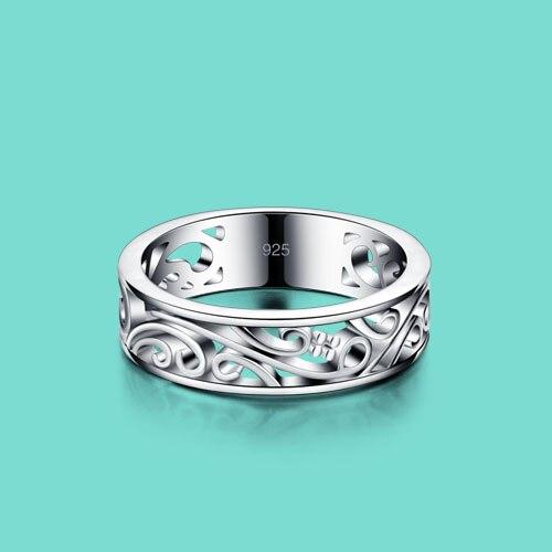 Estilo étnico 925 esterlina anel de prata Esculpido padrão decorativo projeto menina Sólidos anéis de prata presente de aniversário de jóias populares