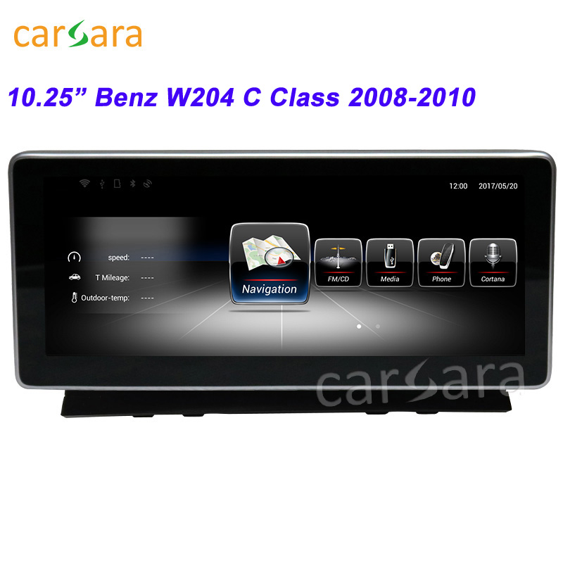 Lecteur Radio DVD GPS de voiture 10.25 pouces 2 Din pour M ercedes-b enz C classe W204 2008 2009 2010 Navigation GPS WIFI améliorée
