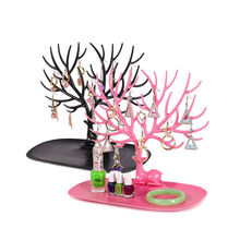 Купить с кэшбэком GLHGJP Little Deer Tree Jewelry Display Stand Tray Earring Necklace Ring Pendant Bracelet Storage Rack Organizer Holder De Joyas