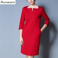 Autumn Winter Dress V Collar Three Quarter Sleeve Knee Length Solid Red Party Office Women Clothes