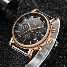 2019 LIGE Men's Watches New Luxury Brand Gold Watch Men Fashion Sports Quartz-watch Stainless Steel Mesh Strap Dial Date Clock