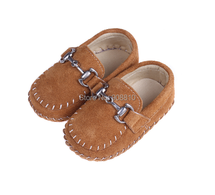 Brand new!!baby shoes leather girls boys soft sole with buckle first walkers white rose brown charming shoes wholesale retail