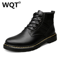 Fashion Winter Ankle Boots Men Genuine Leather Warm Fur Work Boots Casual Shoes Men S Martin