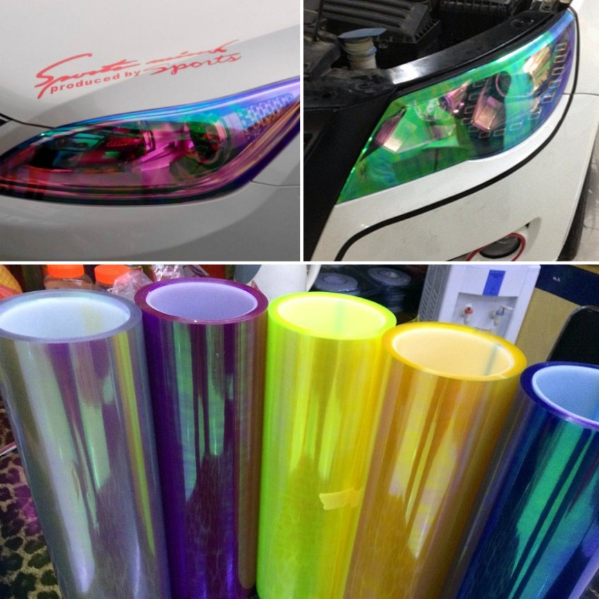 30cm*1m Shiny Chameleon Auto Car Styling headlights Taillights Translucent film lights Turned Change Color Car film Sticks