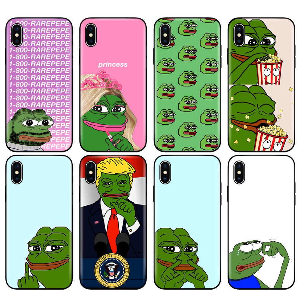 Carcasa de TPU negra para iphone 5 5s se 6 6s 7 8 plus x 10 funda de silicona para iphone XR XS MAX funda Internet EME Smug Frog pet