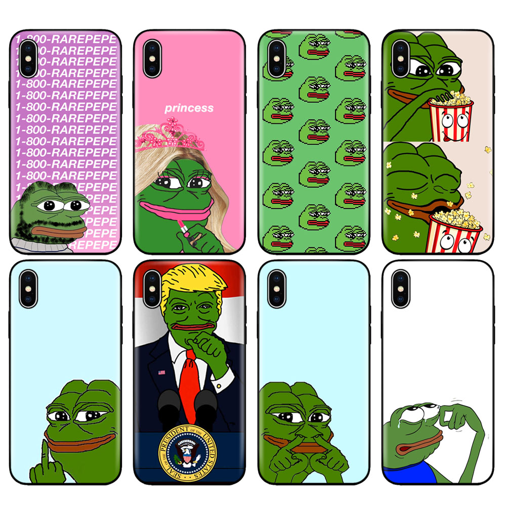 Black tpu case for iphone 5 5s se 6 6s 7 8 plus x 10 case cover for iphone XR XS 11 pro MAX case Internet Meme Smug Frog Pepe image