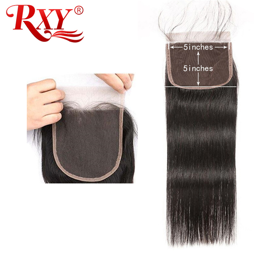 RXY Brazilian Straight Hair 5x5 Lace Closure Remy Human Hair Swiss Lace Pre Plucked With Baby