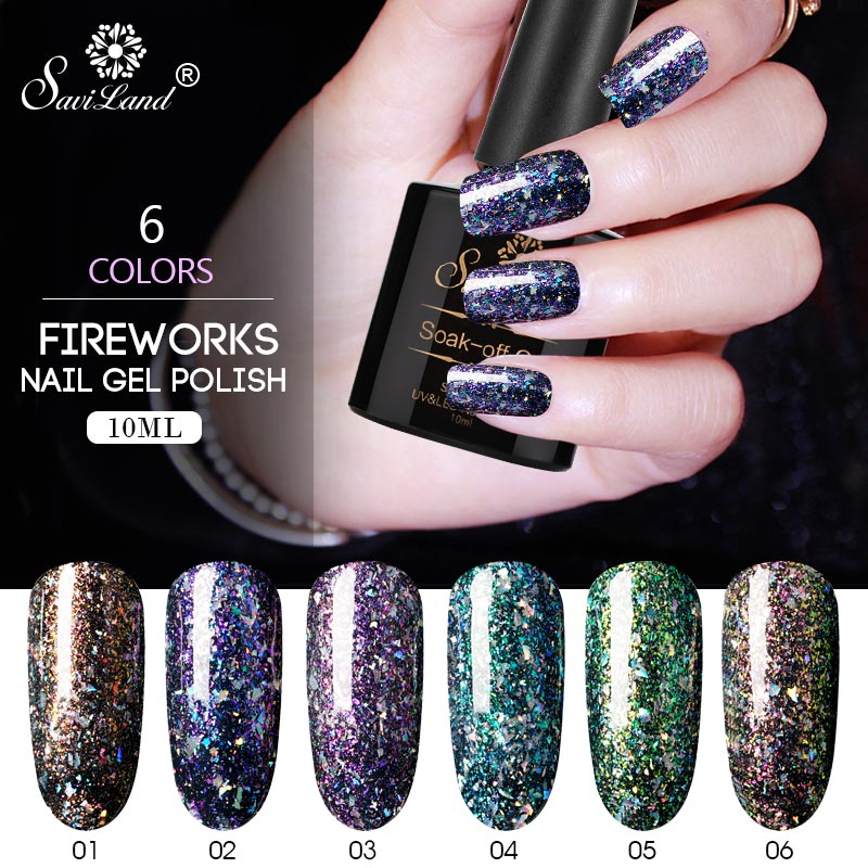 Saviland Glitter Fireworks Chameleon Gel Nail Polish